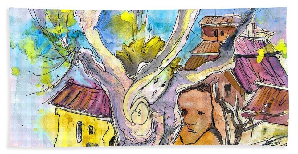 Borderes Hand Towel featuring the painting Borderes Sur Echez 04 by Miki De Goodaboom