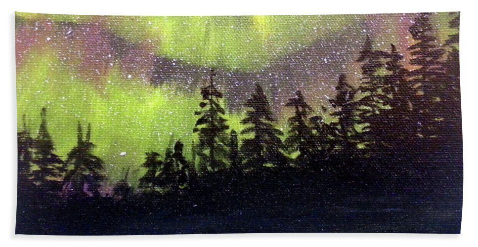 Wilderness Bath Sheet featuring the painting Boreal Borealis by Stuart Kenn