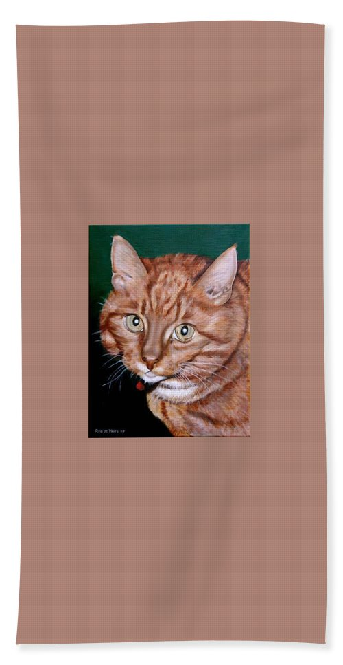 Pets Bath Towel featuring the painting Boris by Rob De Vries