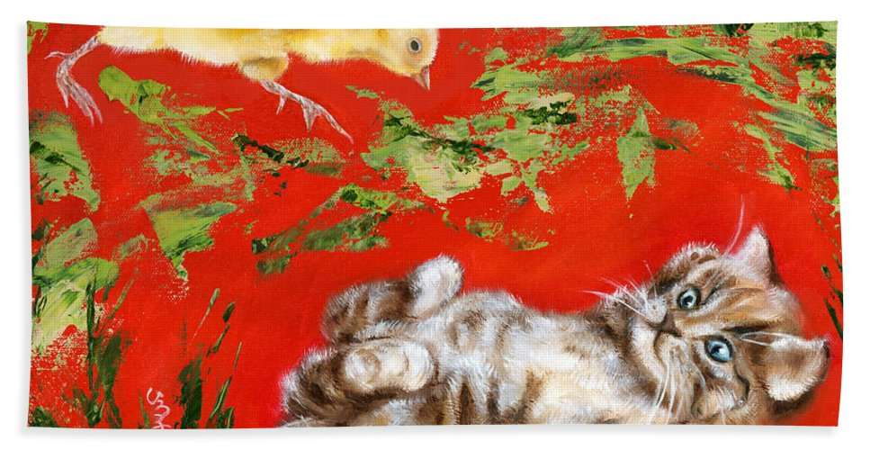 Cat Hand Towel featuring the painting Born To Be Wild by Hiroko Sakai