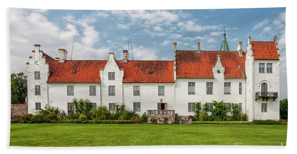 Outside Bath Sheet featuring the photograph Bosjokloster Monastery Castle Facade by Antony McAulay