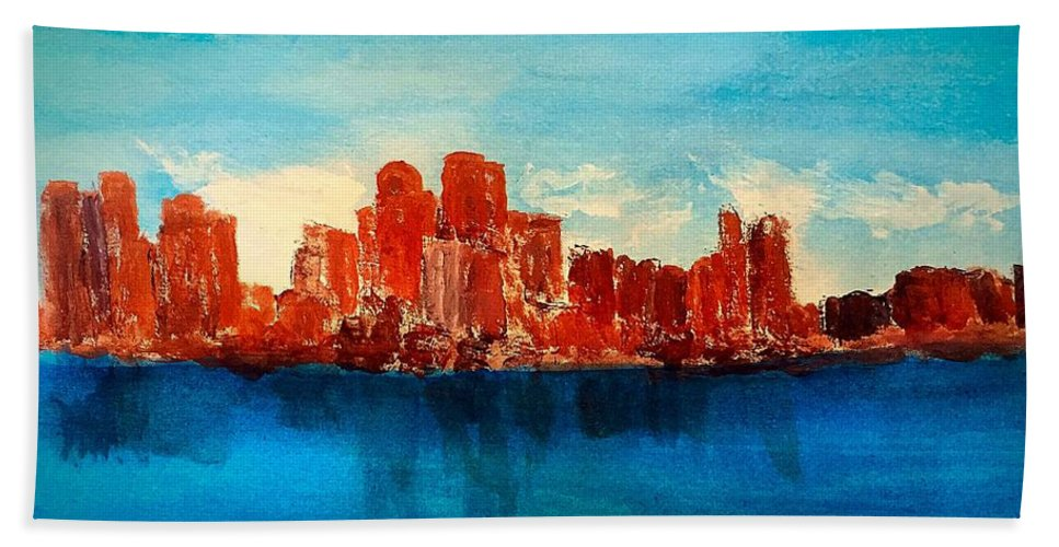 Boston Ma Hand Towel featuring the painting Boston Abstract by Anne Sands