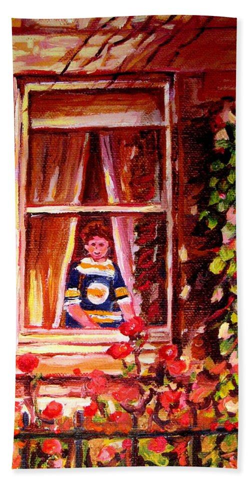 Boston Bruin Fan Hand Towel featuring the painting Boston Bruin Fan by Carole Spandau