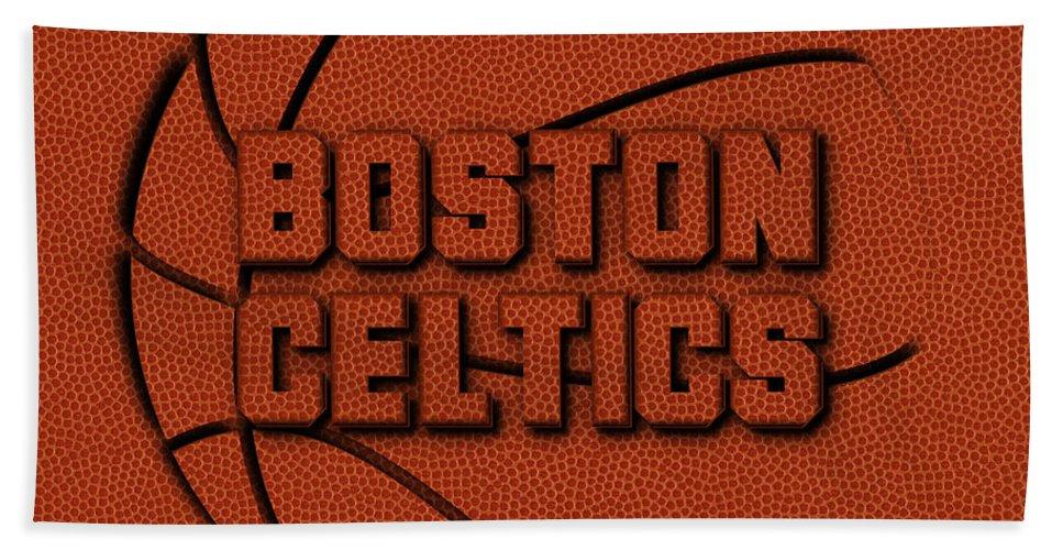 Celtics Bath Towel featuring the photograph Boston Celtics Leather Art by Joe Hamilton