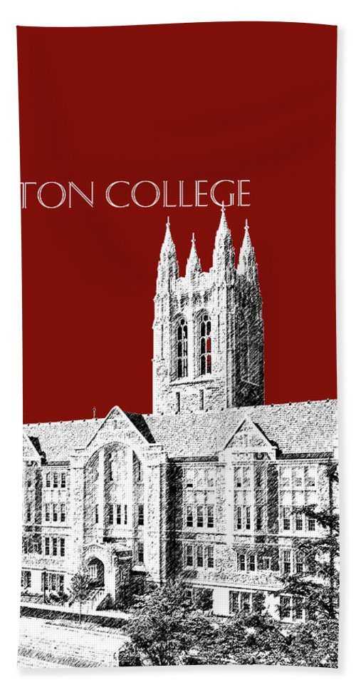 University Hand Towel featuring the digital art Boston College - Maroon by DB Artist