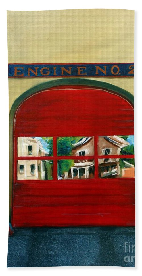 Fire House Bath Towel featuring the painting Boston Fire Engine 21 by Paul Walsh
