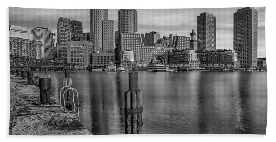Boston Hand Towel featuring the photograph Boston Habor Sunrise Bw by Susan Candelario