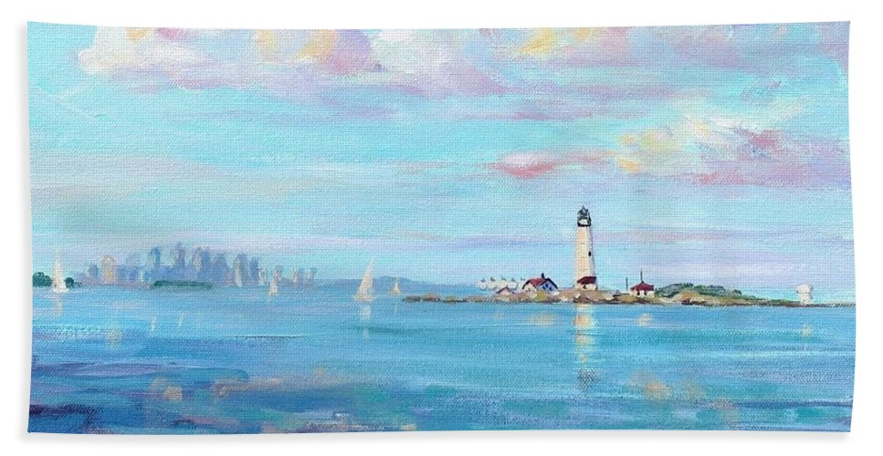 Seascape Hand Towel featuring the painting Boston Skyline by Laura Lee Zanghetti