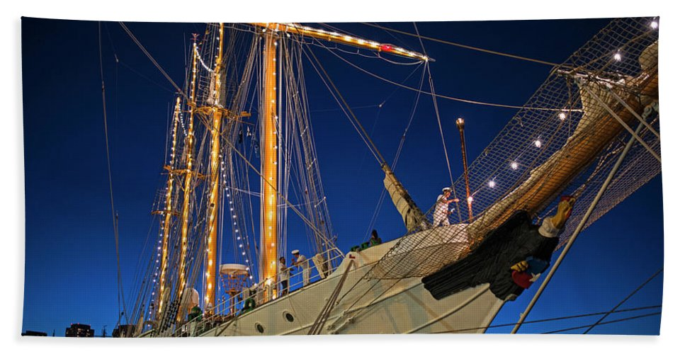 Boston Bath Sheet featuring the photograph Boston Tall Ship Flags Boston Ma Sailors Blue Sky by Toby McGuire
