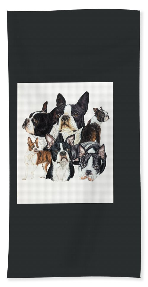 Non-sporting Group Hand Towel featuring the drawing Boston Terrier by Barbara Keith