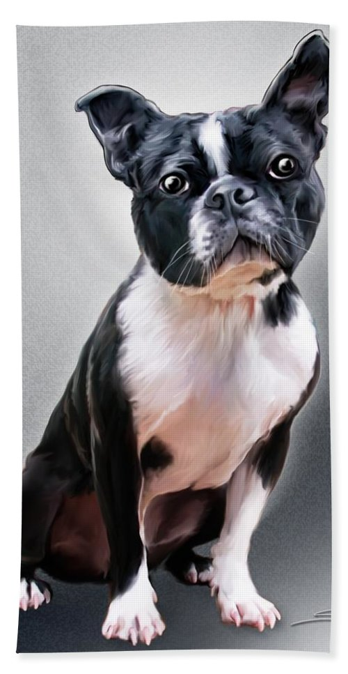 Spano Hand Towel featuring the painting Boston Terrier By Spano by Michael Spano