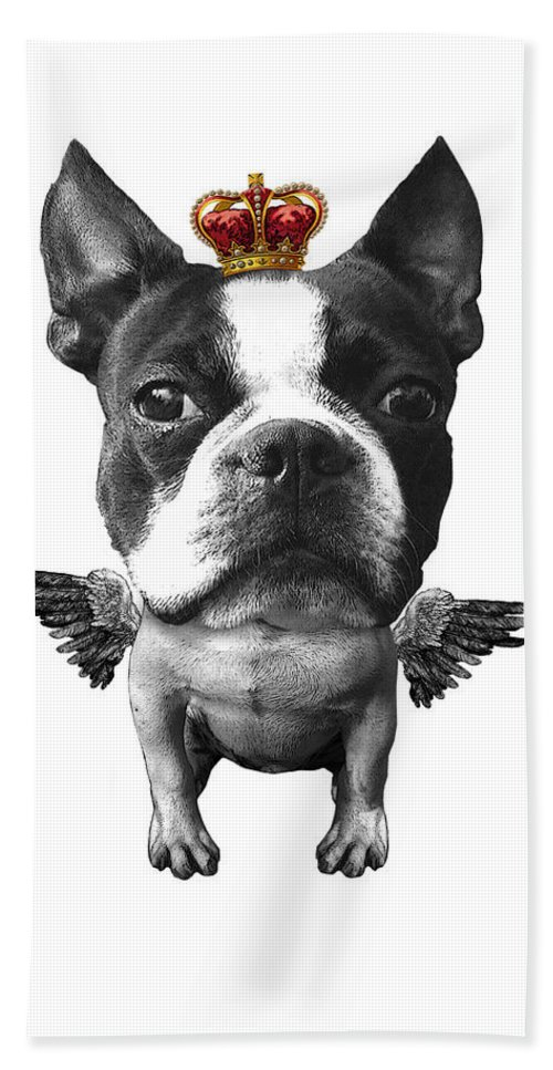 Boston Terrier Hand Towel featuring the digital art Boston Terrier, The King by Madame Memento