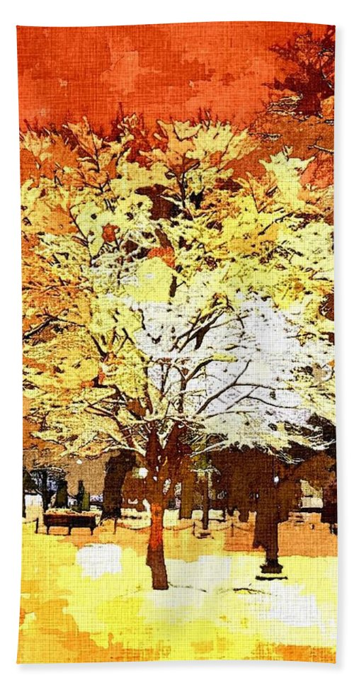 Impressionist Hand Towel featuring the painting Boston Winter by Rachel Niedermayer