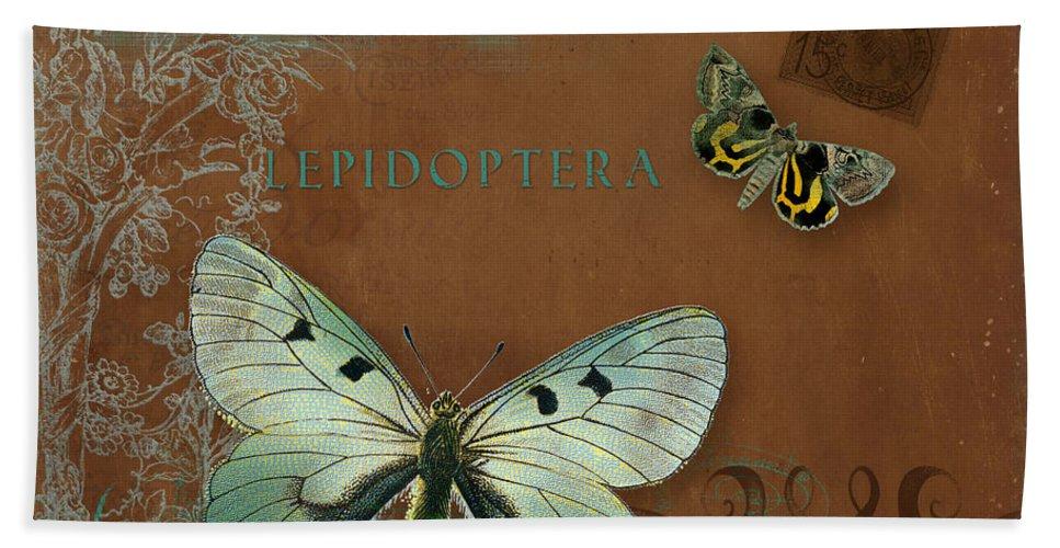 Wildflower Etchings Bath Towel featuring the painting Botanica Vintage Butterflies N Moths Collage 4 by Audrey Jeanne Roberts