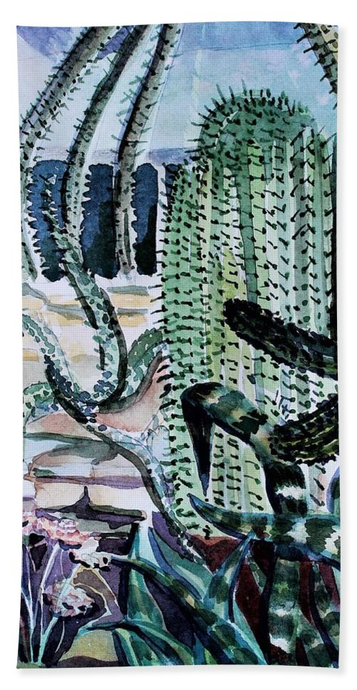 Cactus Bath Sheet featuring the painting Botanical Gardens by Mindy Newman