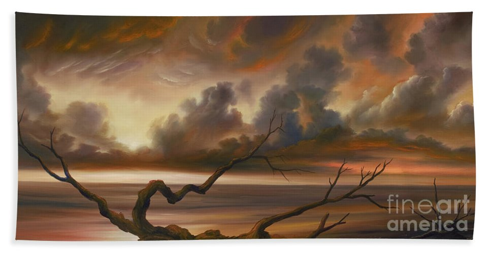 Ocean Hand Towel featuring the painting Botany Bay by James Christopher Hill