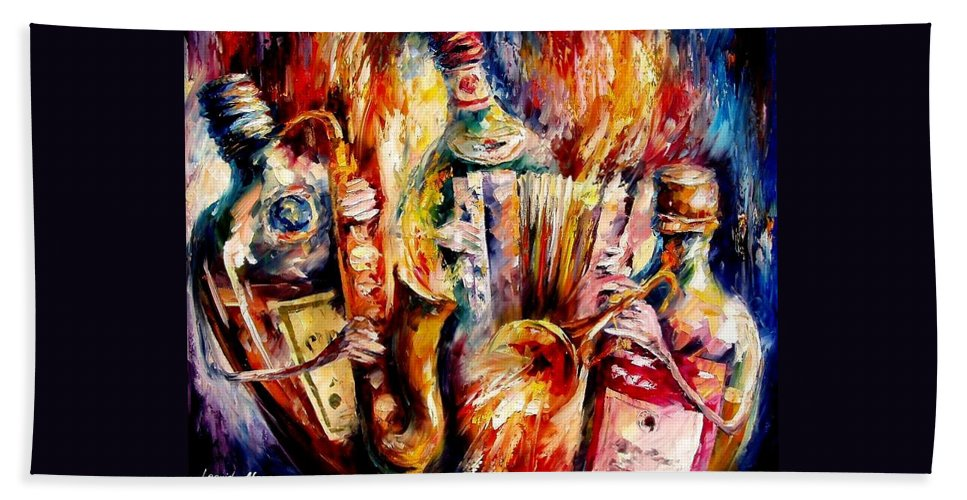 Bottle Jazz Bath Towel featuring the painting Bottle Jazz by Leonid Afremov
