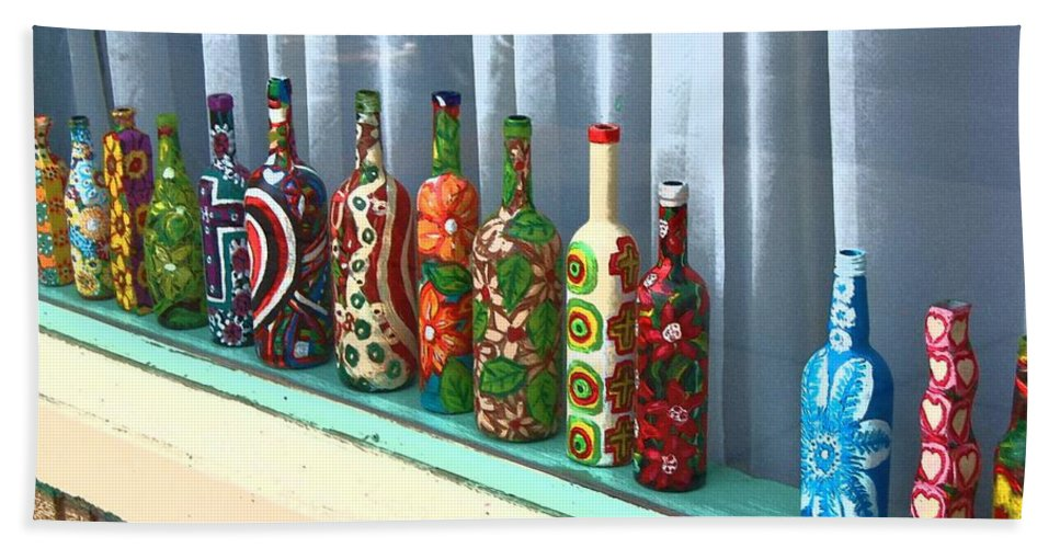 Bottles Bath Sheet featuring the photograph Bottled Up by Debbi Granruth