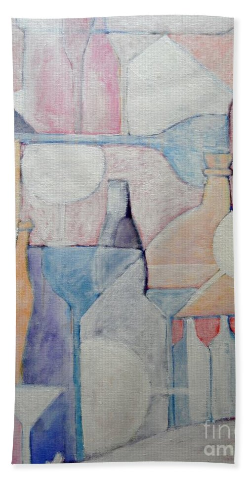 Bottles Hand Towel featuring the painting Bottles And Glasses by Ana Maria Edulescu