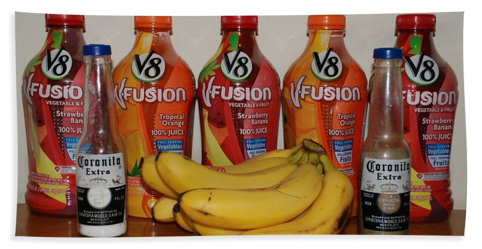 V8 Bath Towel featuring the photograph Bottles N Bananas by Rob Hans