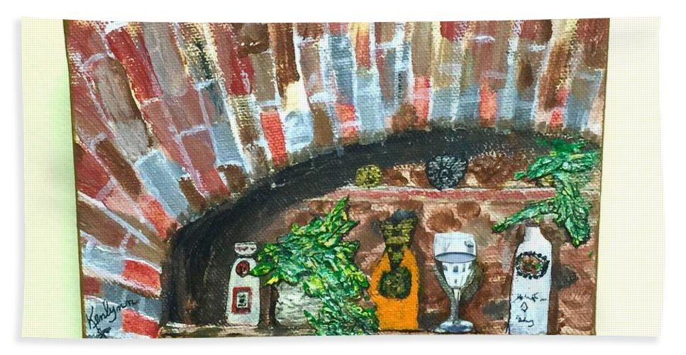 Brick Hand Towel featuring the painting Bottles On A Brick Ledge by Kenlynn Schroeder