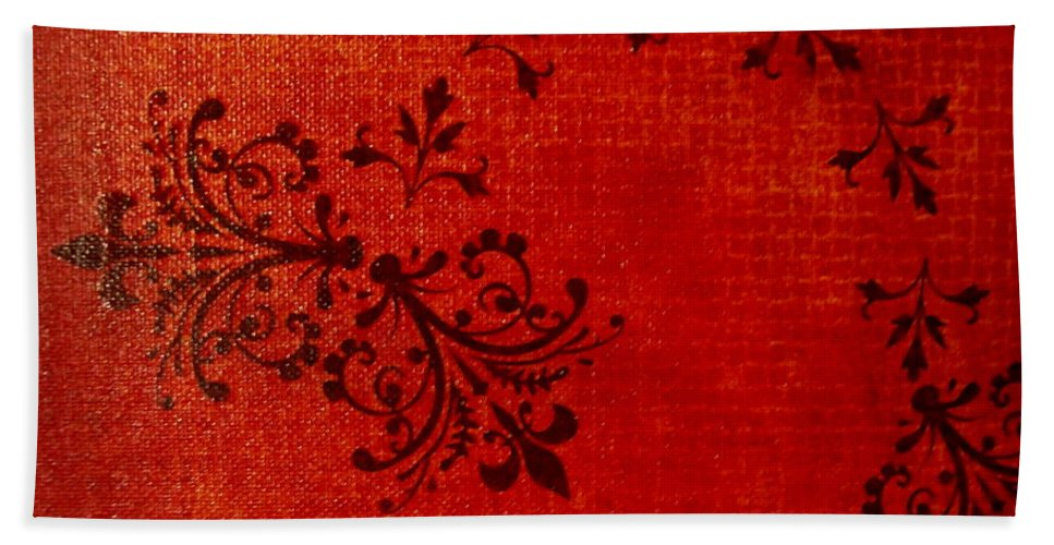 Red Hand Towel featuring the painting Boudoir One by Laurette Escobar