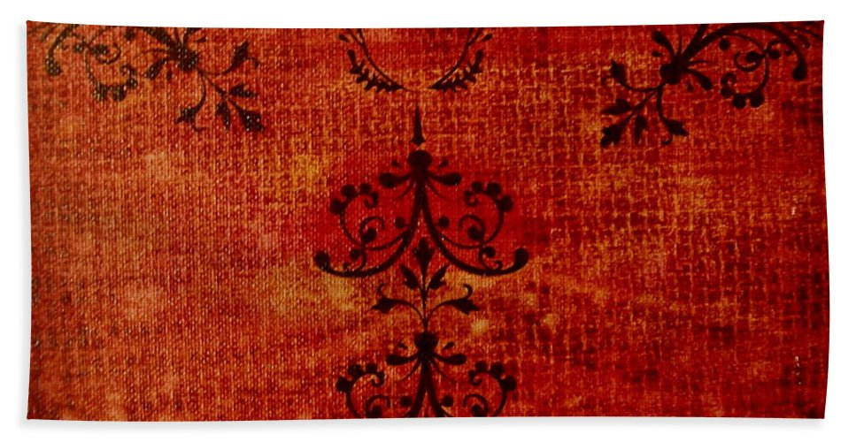 Red Bath Sheet featuring the painting Boudoir Three by Laurette Escobar
