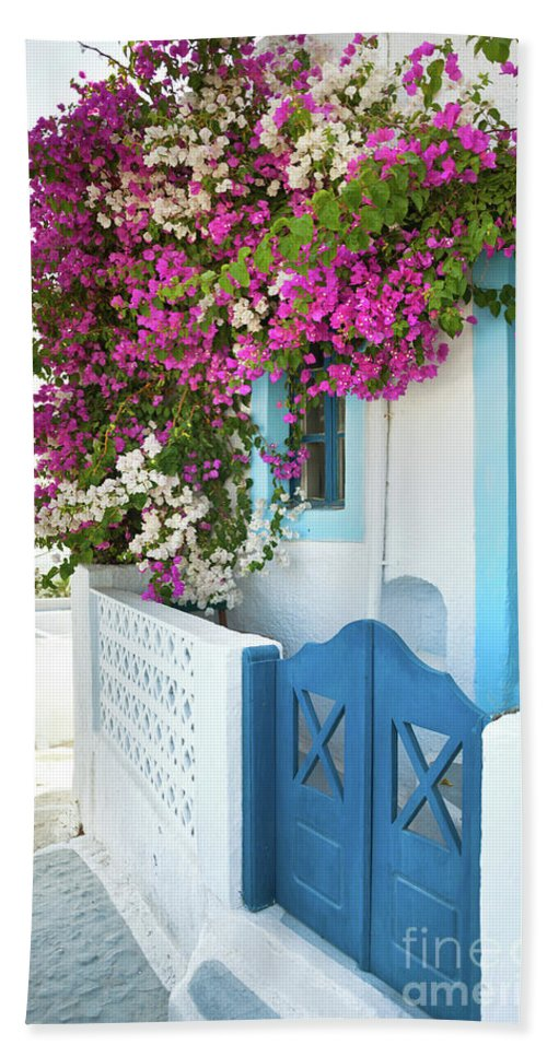 Greek Bath Sheet featuring the photograph Bougainvillea In Santorini Island by Antonio Gravante