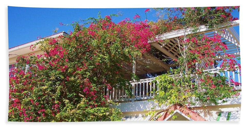 Flowers Hand Towel featuring the photograph Bougainvillea Villa by Debbi Granruth