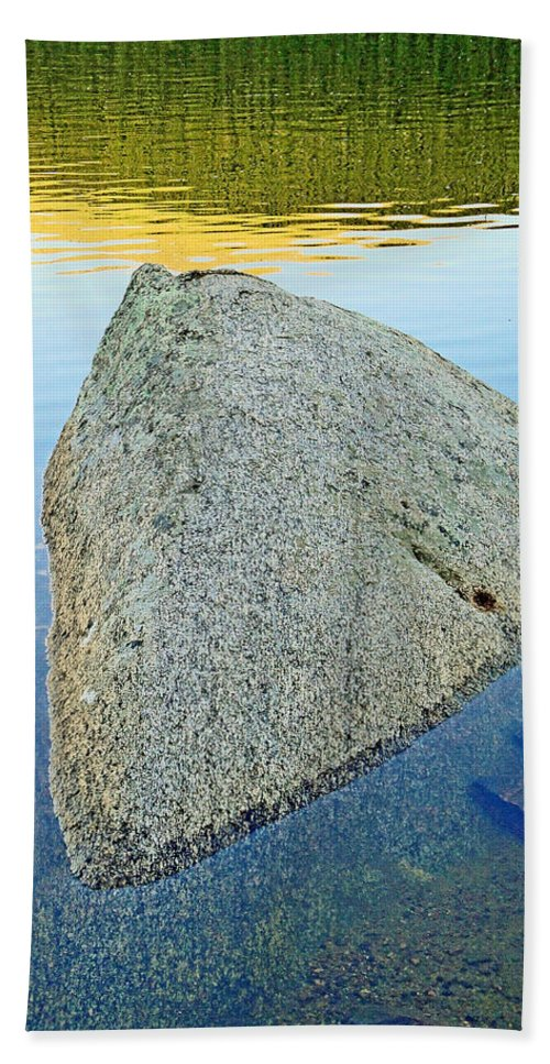 Boulder Hand Towel featuring the photograph Boulder At Echo Lake by Robert Meyers-Lussier