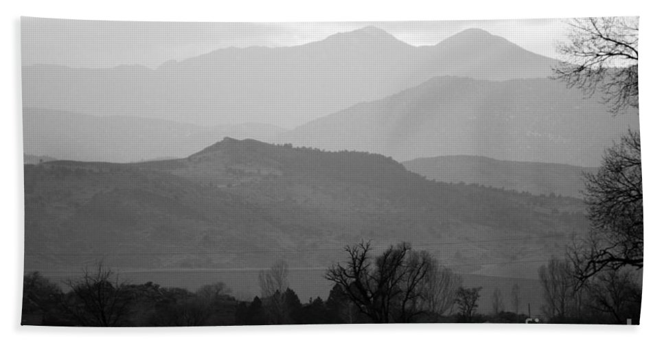 Foothills Bath Sheet featuring the photograph Boulder County Foothills To The Rockies Bw by James BO Insogna