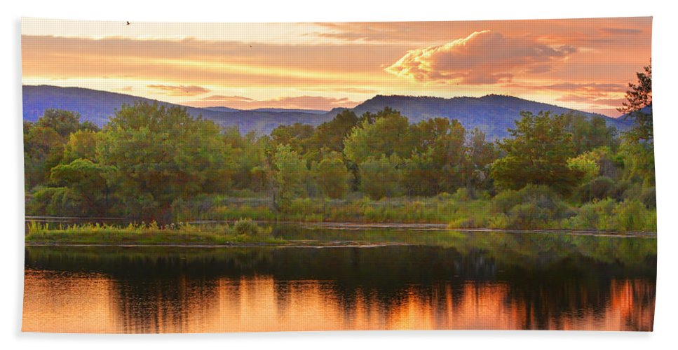 Sunsets Bath Sheet featuring the photograph Boulder County Lake Sunset Landscape 06.26.2010 by James BO Insogna