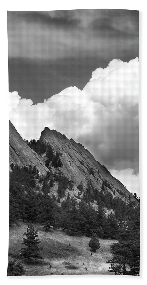 Flatirons Hand Towel featuring the photograph Boulder Flatirons 2 by Marilyn Hunt