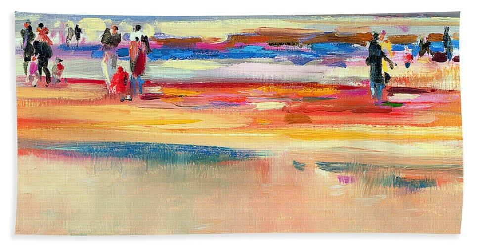Beach Bath Sheet featuring the painting Boulevard De Boudin by Peter Graham