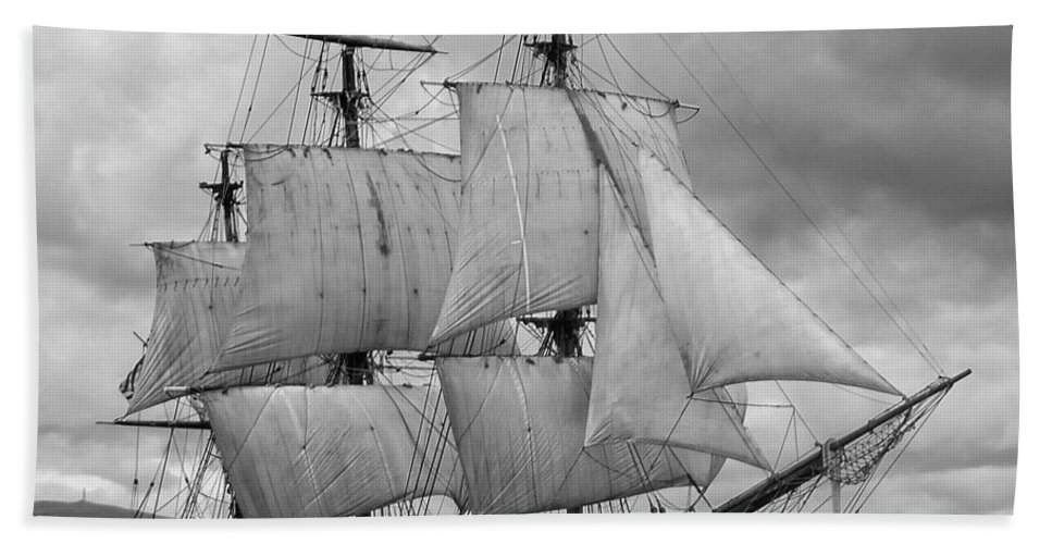 Tall Ship Bath Towel featuring the photograph Bounty by John Hughes