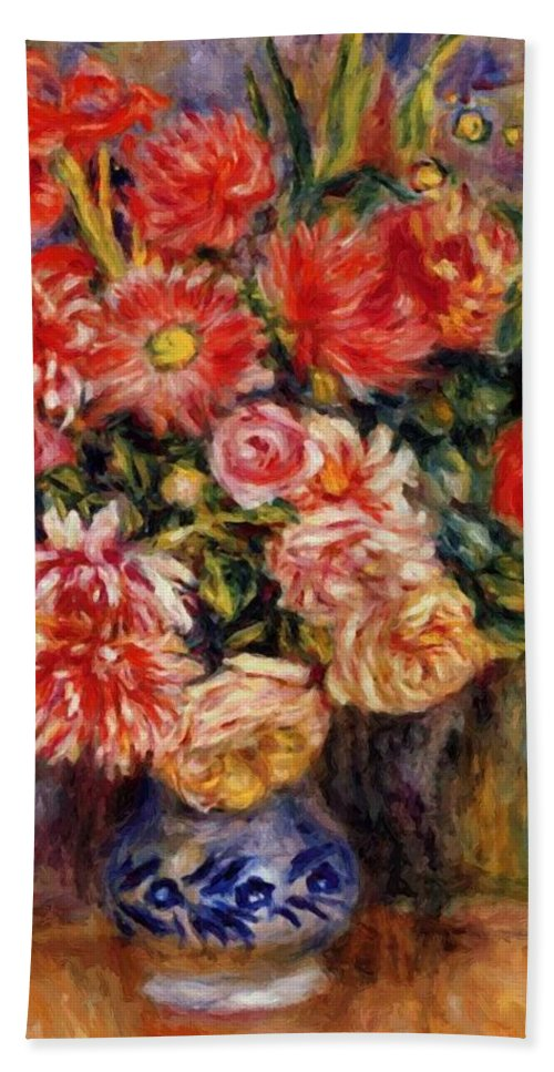 Bouquet Hand Towel featuring the painting Bouquet 1913 by Renoir PierreAuguste