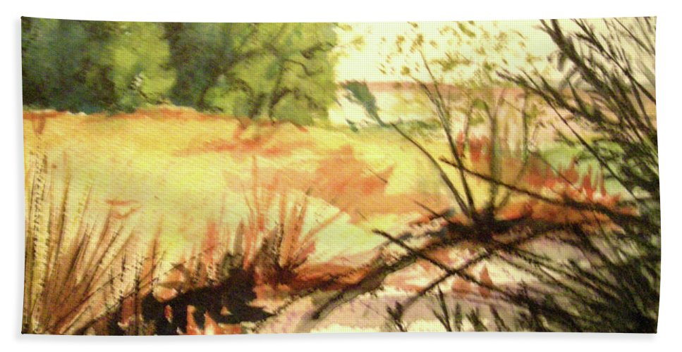 Landscape Hand Towel featuring the painting Bouquet Canyon Wash 2 by Olga Kaczmar