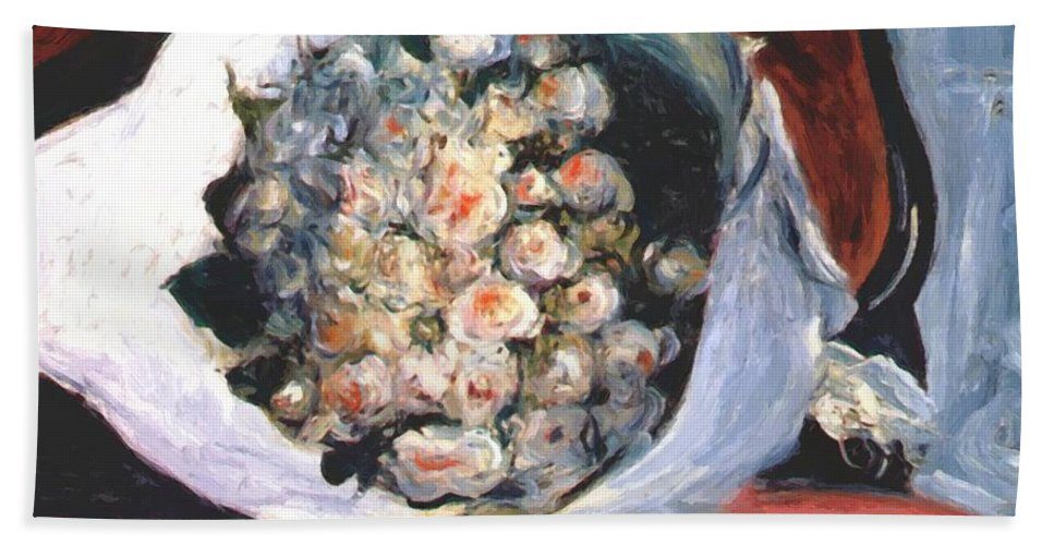 Bouquet Hand Towel featuring the painting Bouquet In A Theater Box by Renoir PierreAuguste