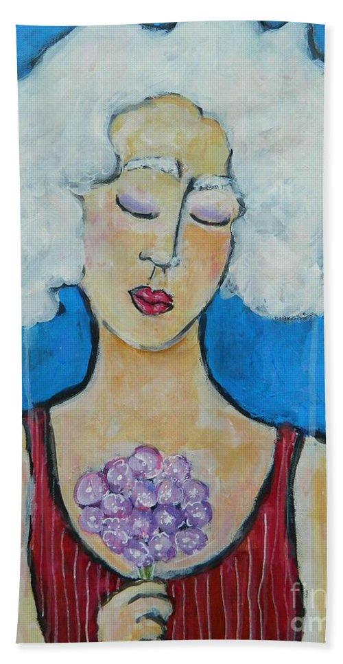 Portrait Hand Towel featuring the painting Bouquet by Kate Marion Lapierre