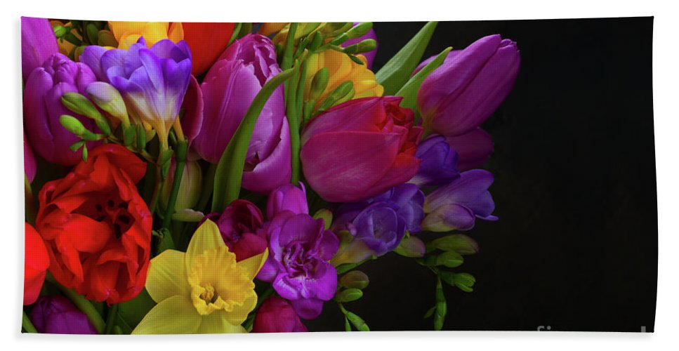 Tulip Hand Towel featuring the photograph Floral Dance by Anastasy Yarmolovich