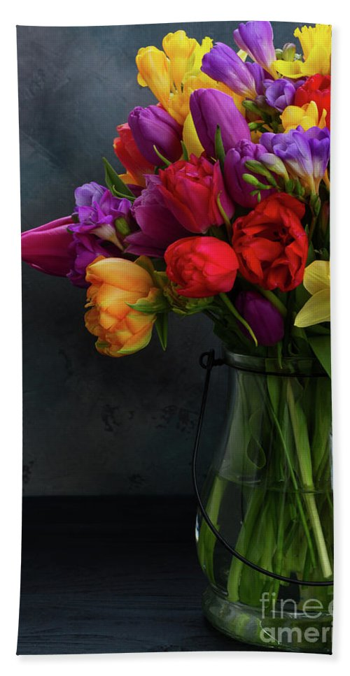 Tulip Hand Towel featuring the photograph Spring Flowers In Vase by Anastasy Yarmolovich