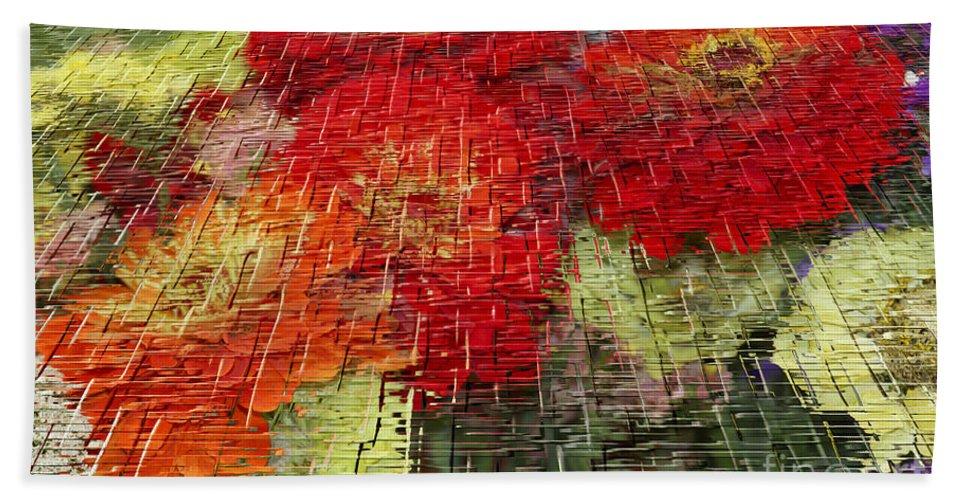 Craquelure Hand Towel featuring the photograph Bouquet Of Colors by Deborah Benoit