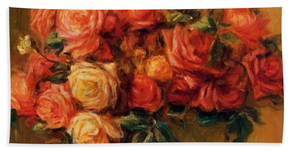 Bouquet Hand Towel featuring the painting Bouquet Of Roses 1900 by Renoir PierreAuguste