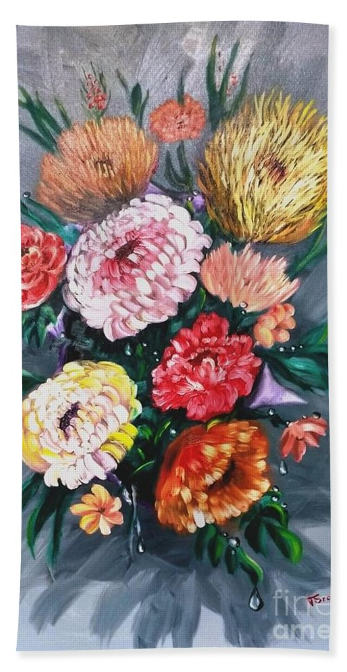 Flower Hand Towel featuring the painting Bouquet by Tatiana Sragar