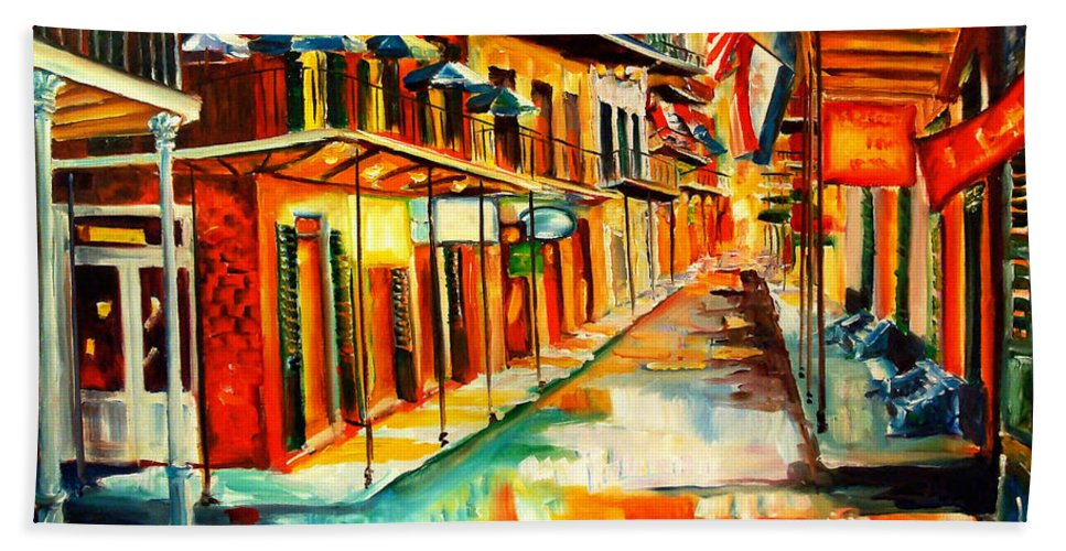 New Orleans Hand Towel featuring the painting Bourbon Street Blitz by Diane Millsap