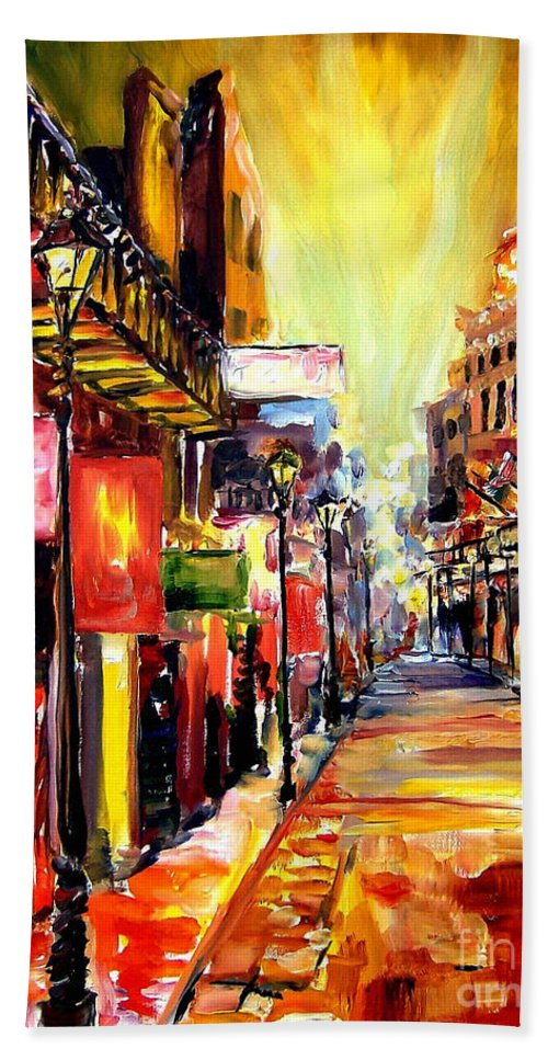 New Orleans Bath Sheet featuring the painting Bourbon Street Dazzle by Diane Millsap