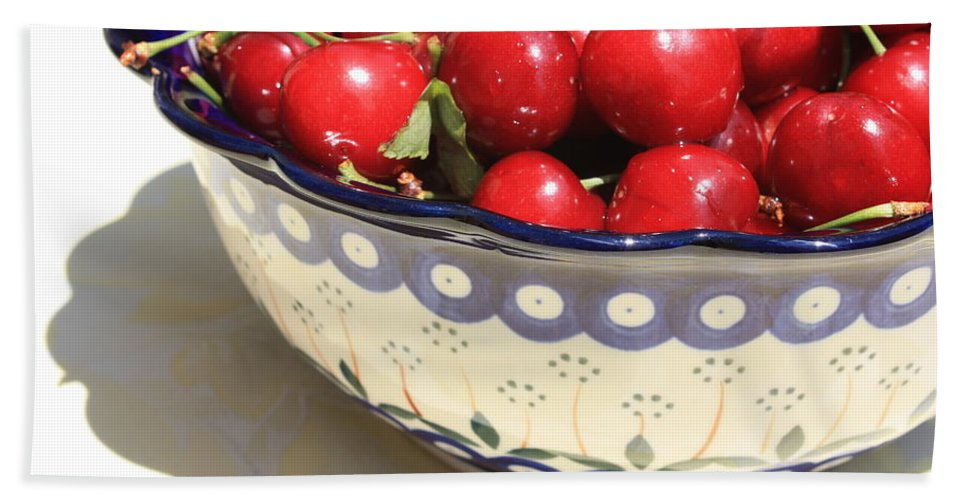 Cherries Bath Sheet featuring the photograph Bowl Of Cherries With Shadow by Carol Groenen