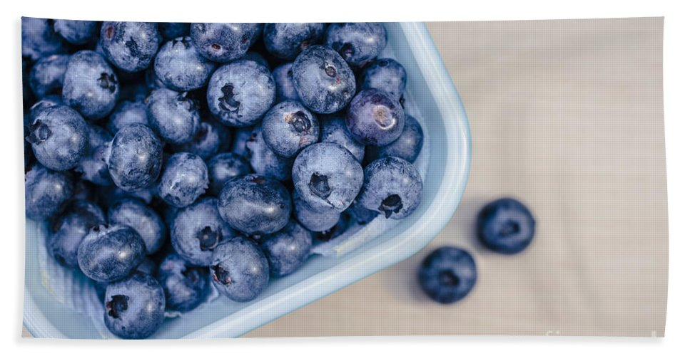 Blue Hand Towel featuring the photograph Bowl Of Fresh Blueberries by Edward Fielding