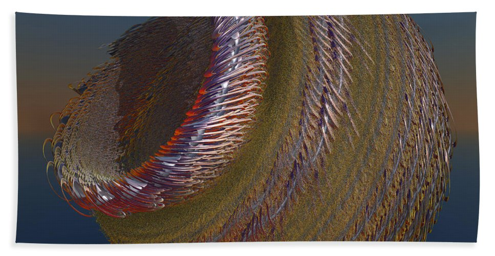 Fractal Bath Towel featuring the digital art Bowl Of Metal by Deborah Benoit