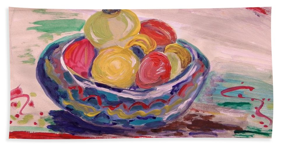 Fruit Hand Towel featuring the painting Bowl On A Red Edge by Mary Carol Williams